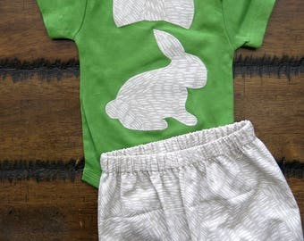 Organic cotton and jersey knit handmade baby by fourlittlebuttons organic bunny bodysuit easter baby bodysuit boy bodysuit first easter gift organic negle Choice Image