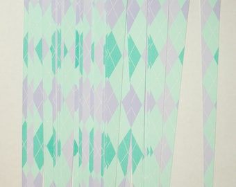 Pre Cut Paper Bead Strips, Craft Supplies Green Purple Argyle