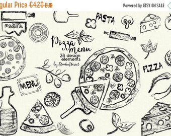 SUMMER SALE - 55% OFF Pizza Clipart, Ink Cliparts, Sketch Clip Art Italian Kitchen, Cheese Cliparts, Pasta Clip Art, Herbs Basil, Salami Oni