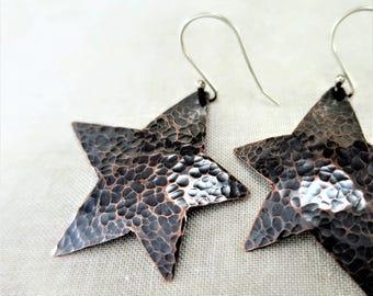 Copper Earrings ~ Dangle Earrings ~ Stars Earrings ~ Lightweight Earrings ~ Geometric Earrings ~ Lightweight Earrings ~ Drop Earrings