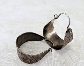Copper Earrings ~ Hoop Earrings ~ Rustic Earrings ~ Minimalist Earrings ~ Dangle Earrings ~ Everyday Earrings ~ Lightweight Earrings