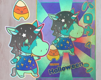 Halloween Spoopy Animal Crossing Julien Style Print and Sticker Pack