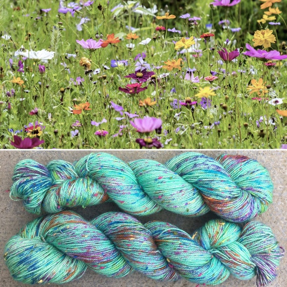 Summer Meadow Multicolour Donegal Sock, speckled indie dyed merino sock yarn with neps