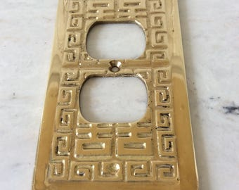 Vintage Solid Heavy Brass Large Outlet Cover Plate, Made in Hong Kong, Greek Key, Chinoiserie, Asian, Hollywood Regency, Glam