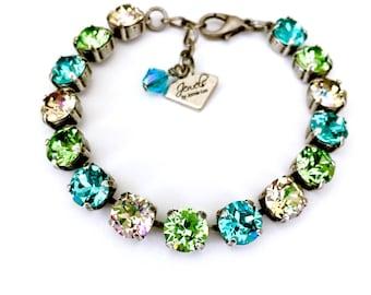 Bora Bora Collection • Swarovski Crystal Bracelet • Turquoise Blue, Peridot Green
