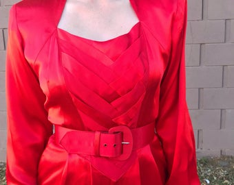 Vintage Red Sateen Jumpsuit Longsleeve Catsuit