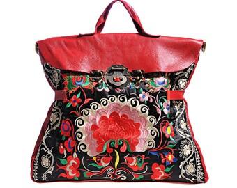 Miya's Original Ethnic Hmong Embroidered Bag Leather  Purse Shoulderbag - Lotus