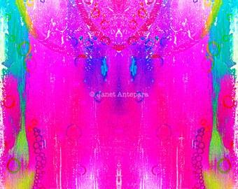 Dreamcatcher Fine Art Print, Tie-Dye Art, Abstract Art, Modern Art, Pink Home Decor, Bright Art