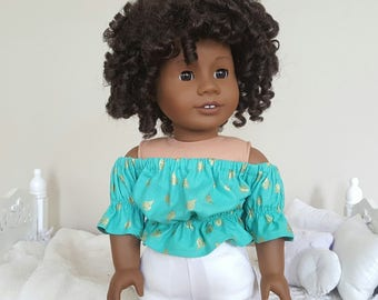 18 inch doll turquoise peasant blouse | lady bug crop top