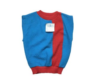 Vintage deadstock german block colour tank top sleeveless jumper sweater age 2-3 1980s 80s