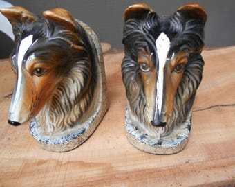 1950s Collie porcelain Bookends