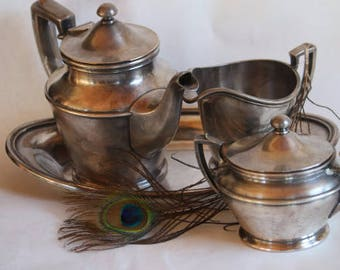 Tea Time - Silver Soldered - Silver Plate Tea Set, Vintage International Silver Company - 4 Piece Tea Set, Soldered, Patented 1918 FREE SHIP
