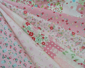 "Bundle Of Yuwa Atsuko Matsuyama 30's Collection Pink Set. Approx. 9"" x 21"" Made in Japan."