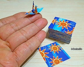 "200 Sheets 1.5"" x 1.5"" ""Shining Sun"" Design DIY Chiyogami Yuzen Paper Folding Kit for Origami Cranes. (WR paper series). #FC15-81s."