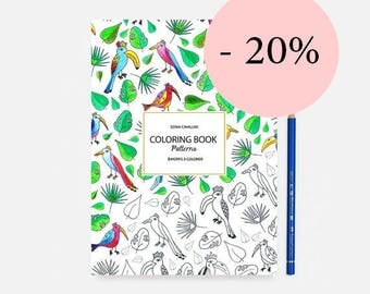 Coloring book, book, coloring, exotic, cat, Notebook, gift, floral, A5, stationery, Malbuch, libro da colorare, adult & kids coloring book