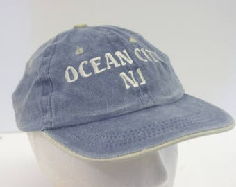 90s Ocean City NJ new jersey denim jean hat cap low profile