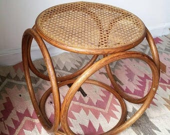 Vintage Bentwood and Cane Top Stool