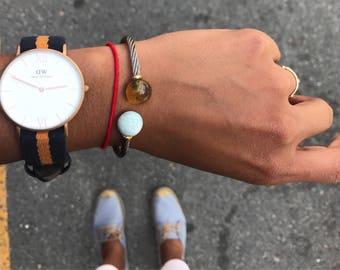 Amber and Larimar Brafelet, Cable cuff bracelet
