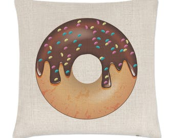 Chocolate Sprinkled Glazed Doughnut Linen Cushion Cover