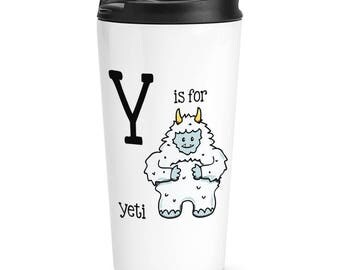 Letter Y Is For Yeti Travel Mug Cup