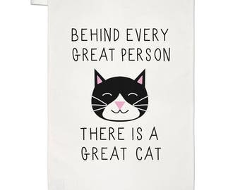 Behind Every Great Person Is A Great Cat Tea Towel Dish Cloth
