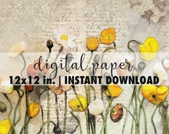 12x12 digital paper, premade scrapbook pages, 12x12 art print, scrapbook vintage floral paper, scrapbook background download, wildflowers