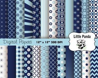80% OFF SALE Light Blue and Navy Digital Scrapbook Paper Pack 24 jpg files 12 x 12  - Instant Download - D263