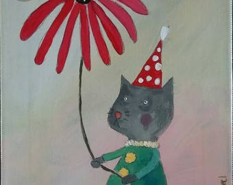 Kitty with Red Flower