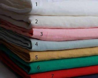 145cm / 57 inch Width, Solid Pleated Linen Cotton Fabric, Half Yard