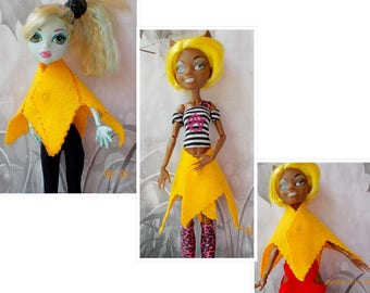 Monster Doll High, Yellow Skirt Cape, Doll Yellow Cape, Doll Yellow Skirt, MH Doll Yellow Skirt, Monster Doll Clothes, Ever After High Cape