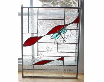 "Stained Glass Panel, 3D Dragonfly, ""L'ENVOL"", Clear and Red Glass, 12 ""x 14"", (30 x 33.6 cm) Abstract Panel"