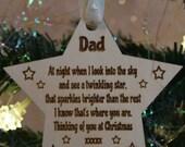 Christmas hanging ornament - memory- star - dad - grandad - mum - gran - lost ones- in memory of loved ones - loved ones heaven - dad sign