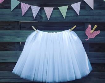 White Tulle Tutu skirt * girl 7-8 * wedding, christening costume *.