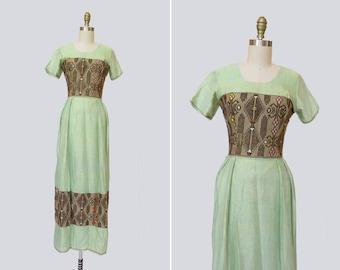 1960s Kafara Dress { S-M } Vintage 60s Embroidered Lurex Maxi
