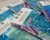 Ocean Deep Scrap Paper Pack in Blues, Greens, Purples with Hand-printed Paste Paper and Marbled Paper