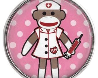 C0976  Art Glass Print Chunk - Sock Monkey Nurse