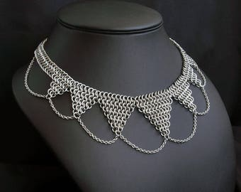 7-Tipped Surgical Steel Chainmail Necklace