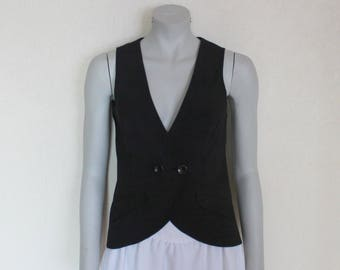 Women's Vest Black Vest Black Womens Vest  Steampunk Waistcoat Formal Fitted  Edwardian Renaissance Baroque Victorian Medium Size