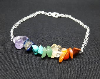 7 Chakra Healing Dainty Sterling Silver Crystal Chip Bracelet. Made with Genuine Precious Gemstones. Gemstone Beaded Bracelet.