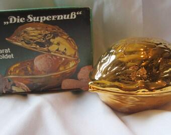 1950s 24 karat goldplated Nutcracker from Western Germany Die SuperbnuB Walnut