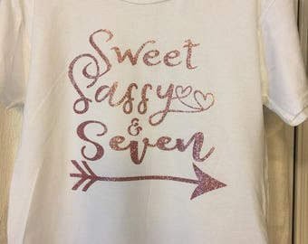Sweet Sassy & Seven Glitter Birthday Shirt