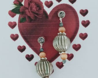 Pink and grey pendant earrings