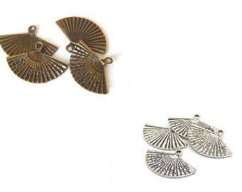 4 charms form fan 25x18mm //couleur bronze or silver color