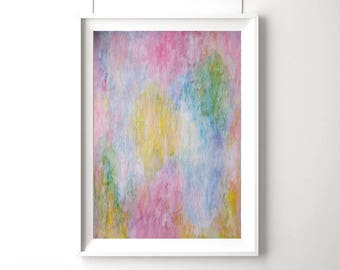A2 Abstract Painting on Paper, Light Pink, Original Mixed Media Oil Pastel Painting, Modern Australian Art