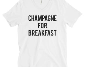 "RESERVED: 8 White ""Champagne for Breakfast"" V-neck Unisex T-Shirts - Bridesmaid Getting Ready Outfit - Bridesmaid Shirt - Bride Robe"