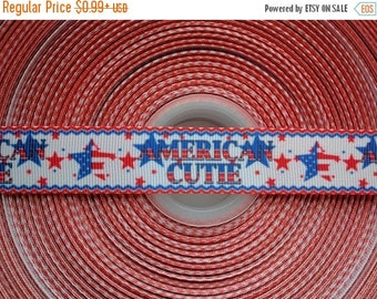 "MOVING SALE AMERICAN Cutie Patriotic 7/8"" 22mm Grosgrain Hair Bow Craft Ribbon 2033"