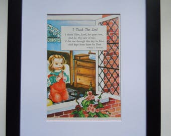 Vintage Child's Prayer - Framed Golden Book Page - I Thank Thee Lord - Nursery Decor - Vintage Wall Art - Black Frame and White Mat
