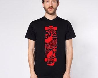 KillerBeeMoto: Skateboard With Maori Design Print Short or Long Sleeve T-Shirt