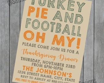 Thanksgiving Invitation - Thanksgiving Dinner - Thanksgiving Football