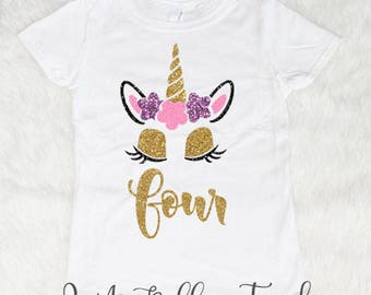 Four Unicorn Birthday Shirt, Birthday Girl Shirt, Birthday Shirts for Girls, 4th Birthday Outfit, 4 birthday Shirt, 4 Year old Birthday Girl